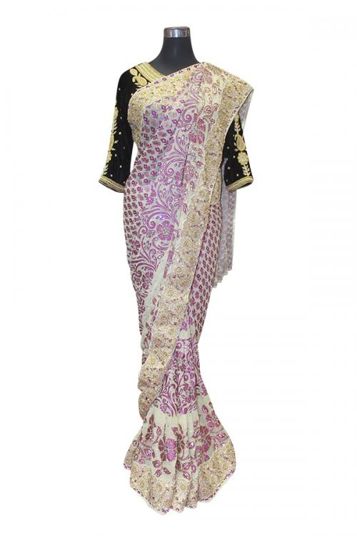 Purple Leaf Embroidered Saree - (AE-032)