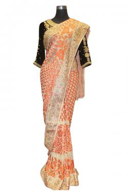 Orange Leaf Embroidered Saree - (AE-033)
