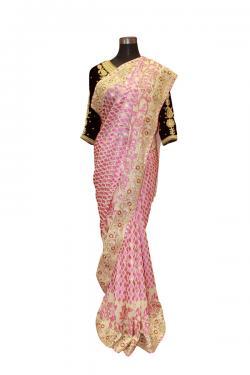 Pink Leaf Embroidered Saree - (AE-034)