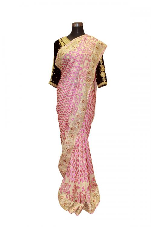 Pink Leaf Embroidered Saree - (AE-034)