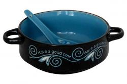 Blue & Black Printed Ceramic Soup Bowl With Spoon - (TP-650)