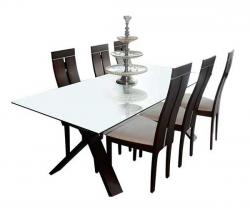 Six Seater Dinning Set With Glass Top Dinning Table - (FL206-27)