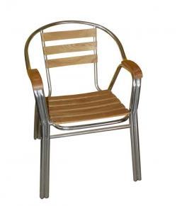 Aluminium + Wooden Chair - (FL846-37)