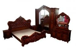 Dark Brown Wooden Bedroom Set - (FL417-22)