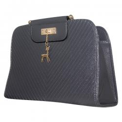 Dark Grey Shiny Fancy Handbag For Ladies - JRB-0006