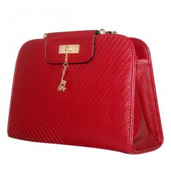 Dark Red Shiny Fancy Handbag For Ladies - JRB-0007