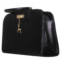 Dark Black Shiny Fancy Handbag For Ladies - JRB-0008