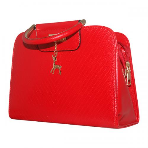 Bright Red Shiny Fancy Handbag For Ladies - JRB-0009
