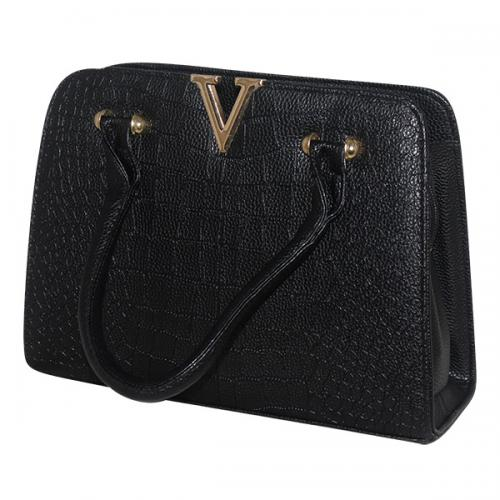 V Luxury Fashion Letter Lady Handbag - Dark Black - JRB-0010