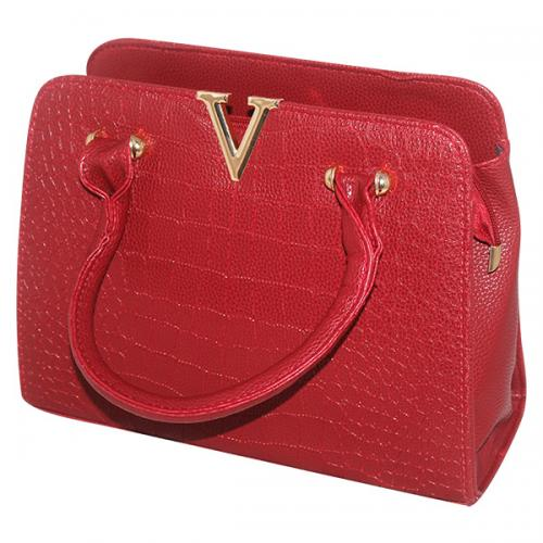 V Luxury Fashion Letter Lady Handbag - Dark Red - JRB-0011