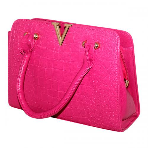 V Luxury Fashion Letter Lady Handbag - Light Pink - JRB-0012