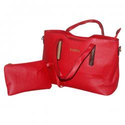 Dark Red 2 in 1 Handbag Set - Fancy Bag & Purse - JRB-0026