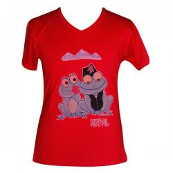 Frog In Nepali Dress - Round Necked T-Shirt - (PL-006)