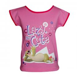 Lazy But Cute Printed Pink T-Shirt - (PL-039)