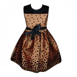 Black Spotted Orange Color One Piece Frock For Girls - (PL-048) - 20% OFF