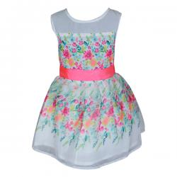 White & Pink Colored Floral Frock For Girls - (PL-052) - 20% OFF