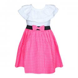 White & Pink Colored Cute Baby Frock - (PL-050) - 20% OFF