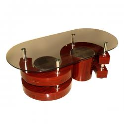 Wooden Coffee Table With Glass On Top - FL220-12
