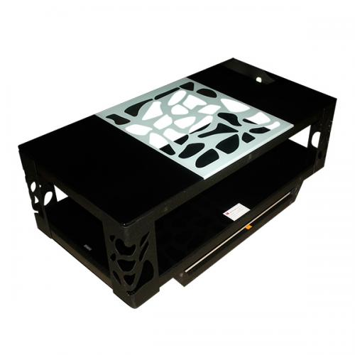 Dark Black Coffee Table With White Designs - FL220-29