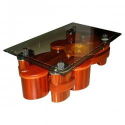 Glass Topped Wooden Coffee Table - FL220-10