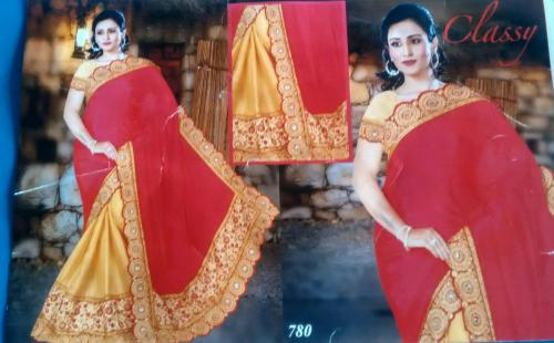 orange saree with jari embroidery at borders and free blouse