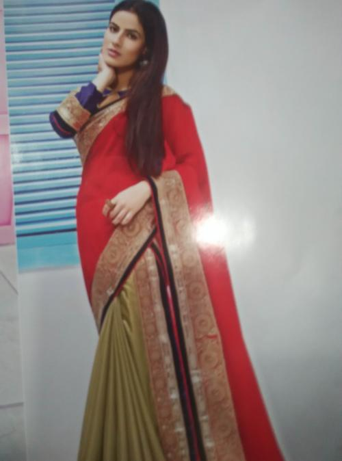 SAREE WITH DOUBLE DRAPING AND FREE BLOUSE