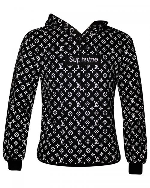 Black & White Printed Full Length Hoodie For Men