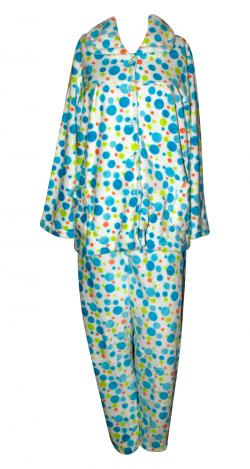 Blue & Green Spots Printed Cloth Set For Women