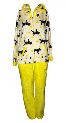 Love Dogs Printed White & Yellow Contrast Cloth Set For Women