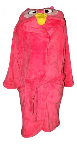 Full Pink Colored Polar Gown For Kids - Owl Printed Hood