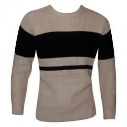 Off White & Black Color Striped Fancy Sweater For Men