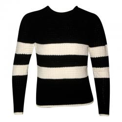 Black & White Striped Fancy Sweater For Men