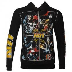 3D Design Kiss Rock Band Printed Black Hoodie For Men