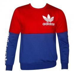 Blue & Red Contrast Full Sleeve T-Shirt For Men