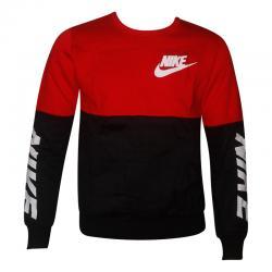Black & Red Contrast Full Sleeve T-Shirt For Men