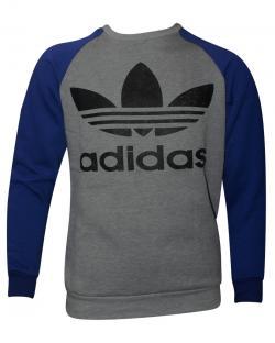 Grey & Blue Contrast Full Sleeve Adidas T-Shirt For Men