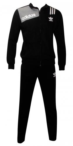 Adidas Printed Dark Black Track Set For Men