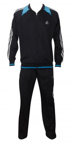 Adidas Printed Blue Black Track Set For Men