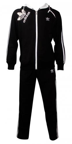 Adidas Printed Black & White Track Set For Men
