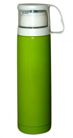 Plain Green Water Bottle With White Cap - 500ml