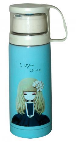 I Love Winter Printed Cute Water Bottle - 350ml
