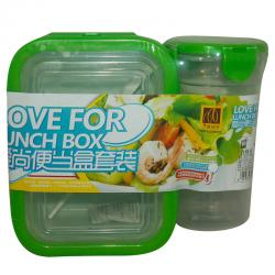 Combo Set Of Plastic Lunch Box & Bottle
