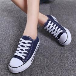 Dark Blue Canvas Shoes For Ladies