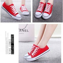 Dark Red Canvas Shoes For Ladies