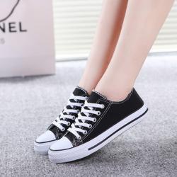 Dark Black Canvas Shoes For Ladies