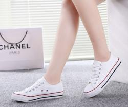 Full White Canvas Shoes For Ladies