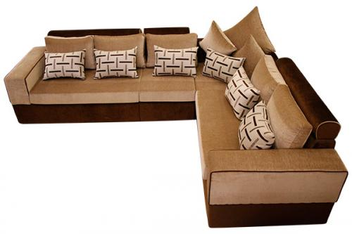 Brown & Cream Colored Corner Sofa - (SD-003)