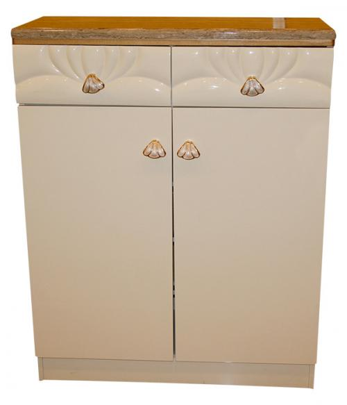 Off White Wooden Rack (Marble Coated) - 2 Door 2 Drawer - (SD-007)