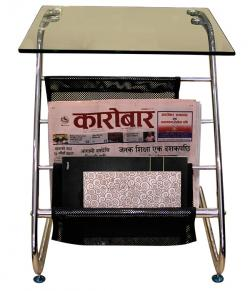 Glass Top Table With Magazine Holder - (SD-053)