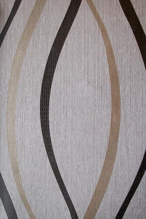 Black & Vanilla Curved Pattern Wallpaper For Home Decoration (002800)